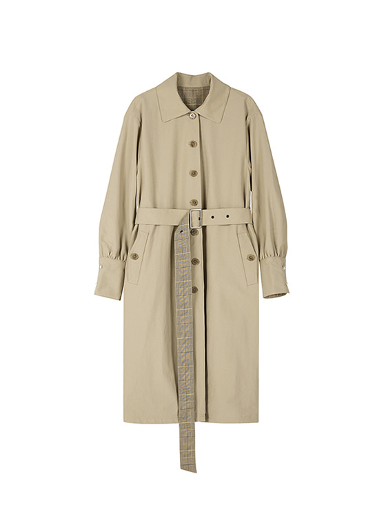 Puff Sleeve Trench Coat in Beige+Check_VW8AR0120