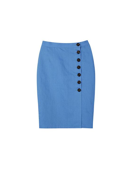 Linen Button Skirt in S/Blue_VW8SS0820