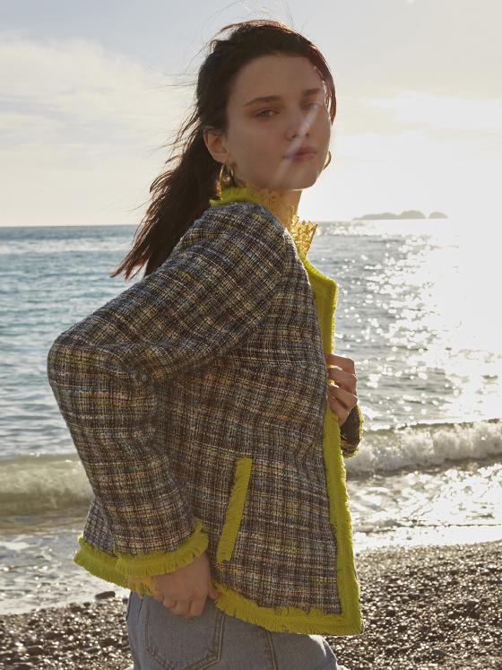 Loose Fit Tweed Jacket in Black_VW8SJ0170
