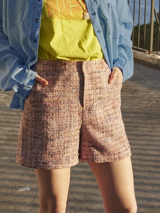 Tweed Short Pants in Pink_VW8SL0760