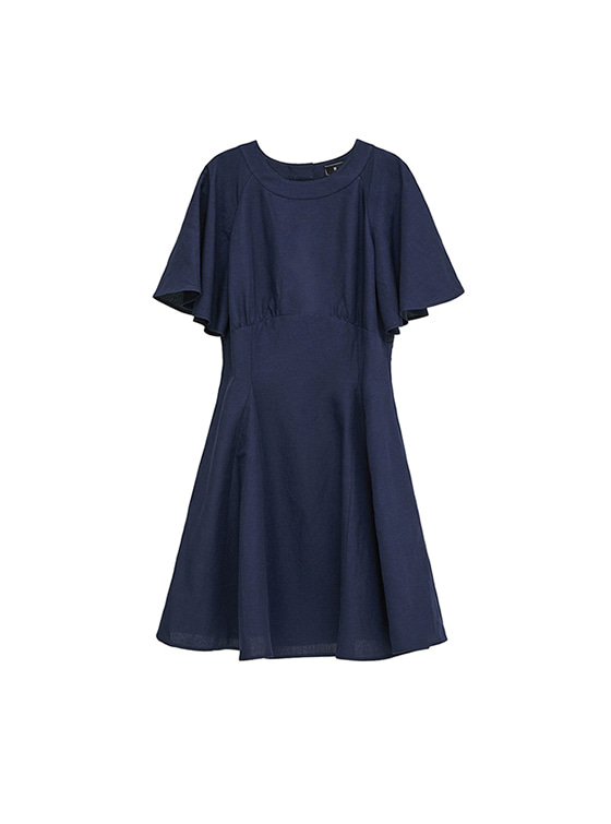 Linen Flare One Piece in Navy_VW8MO0270