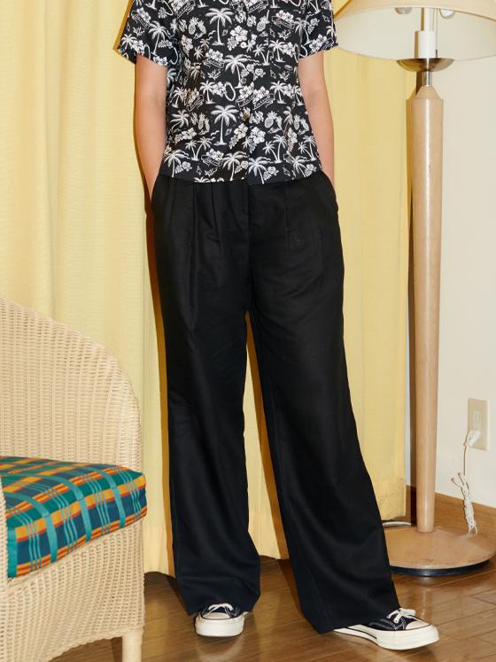Linen Wide Pants in Black_VW8ML0770