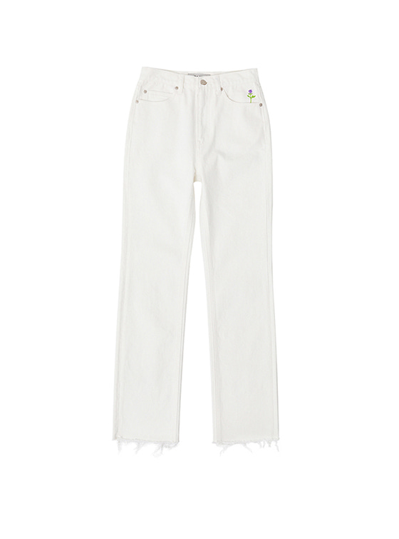 Rose Pocket Straight Jeans in White_VJ8ML0800